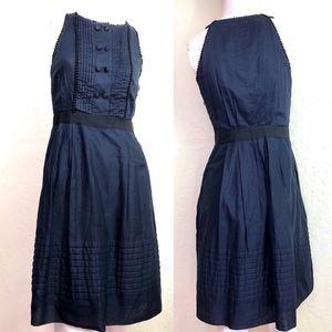 Lela Rose Flared Dress Pin Tuck Pom Pom Buttons 4